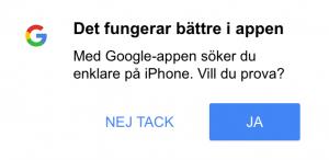 Information om att ladda ner Google Search-appen