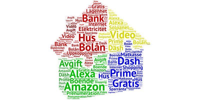 Ordmoln över befintliga och kanske kommande Amazon-tjänster