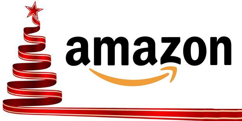 Julgran och Amazon-logotyp