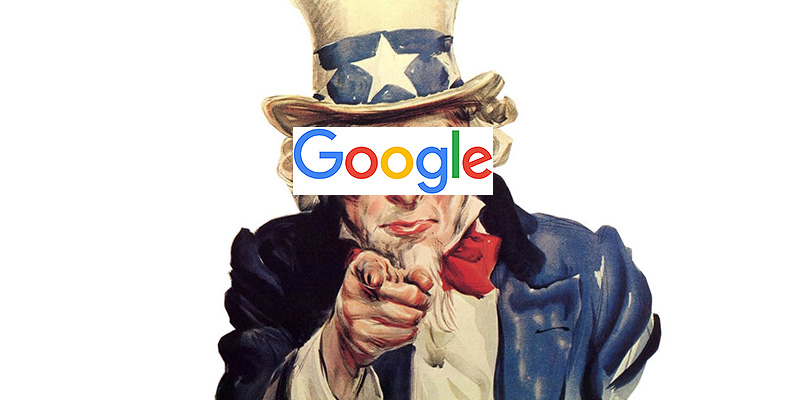 Uncle Sam wants you med Google-logga