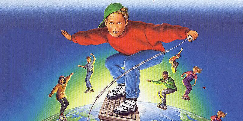 Tecknade barn som surfar på tangentbord ovanför atmosfären