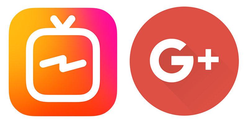 Logotyperna för IGTV och Google+