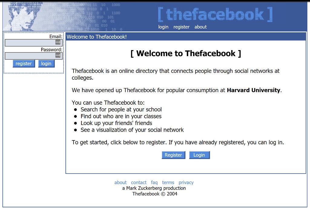 Hur första versionen av facebook.com såg ut