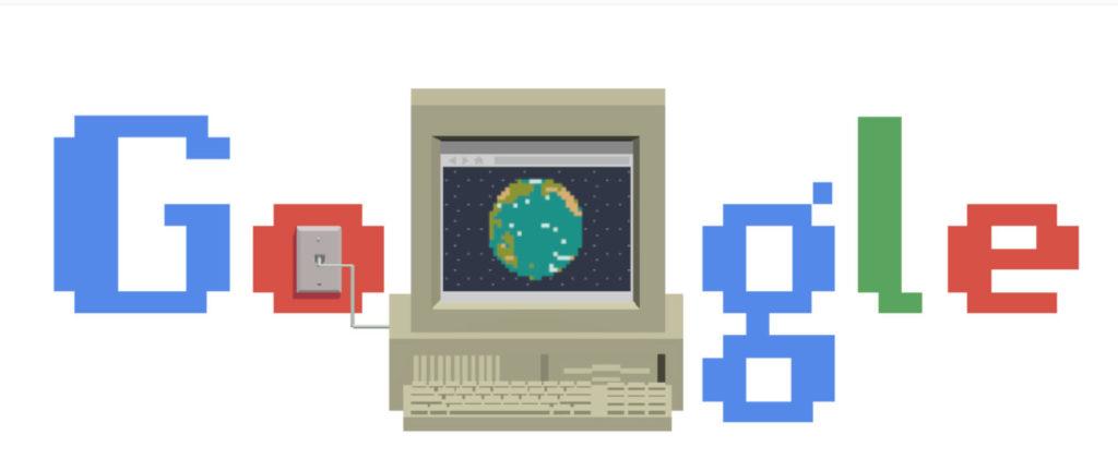Googles doodle 12 mars 2019 - med blinkning till internet på nittiotalet