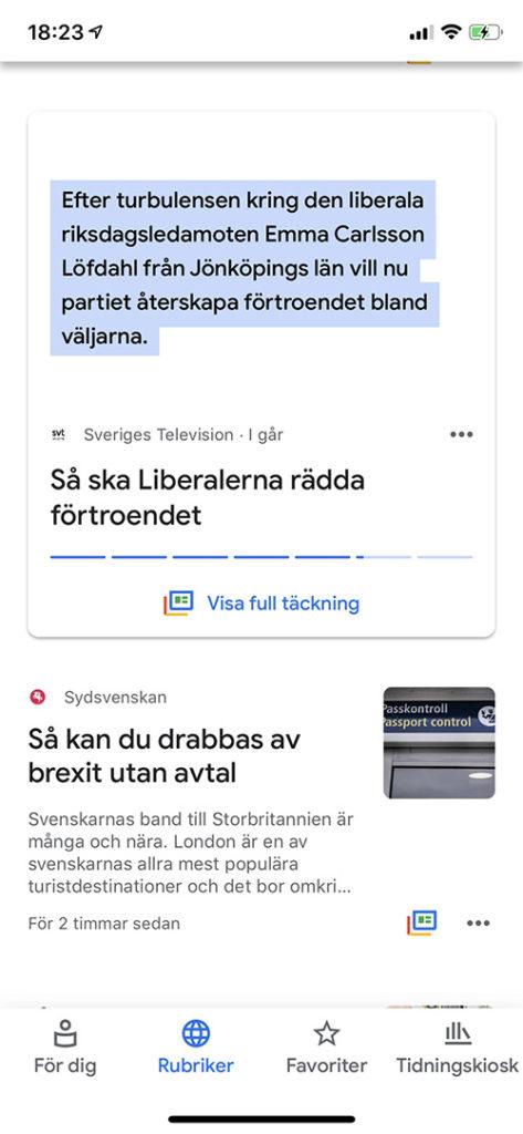 Google News med nyhet utan bild