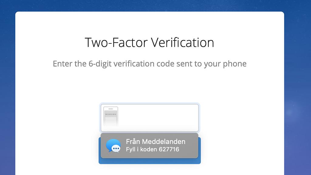 Exempel på automatisk ifyllning av sms-verifieringskod