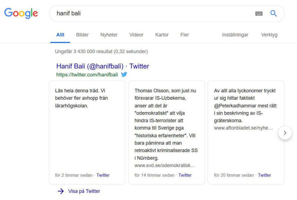Google-sökning med karusell med tweets