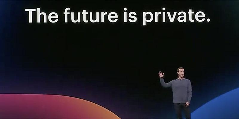 Skärm som visar texten The future is private